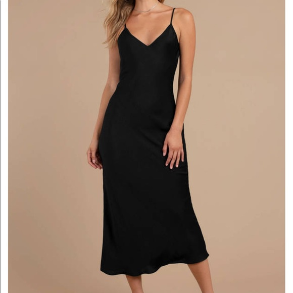 2342c02d57e70 Tobi Dresses | Black Satin Midi Dress Size Small | Poshmark